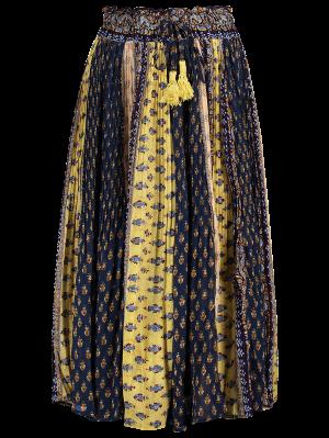 Tiny Floral Midi Boho Skirt - Blue And Yellow