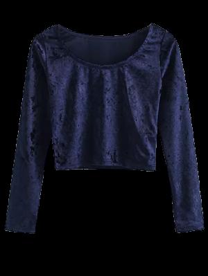 Camiseta Terciopelo Cuello Redondo Recortada - Teal M