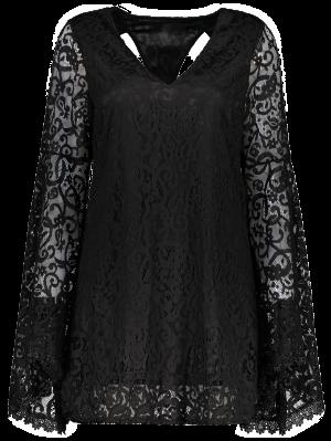 Vestido Escotado Panel Encaje Manga Campana Recortado  - Negro 2xl