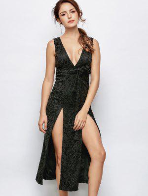 Vestido Escotado De Encaje Doble De Split - Negro Xl