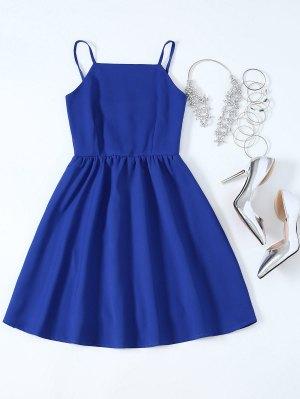 Vestido De Tirantes Finos De Fiesta Con Vuelo Para Mujer - Azul Zafiro L