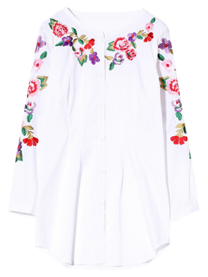 Long Sleeve Embroidered Shirt - White S