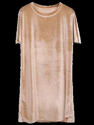 Velvet Mini Shift Layering Dress - Golden