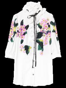 Larga Camisa De Volantes Floral - Blanco S