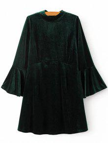 Cut Out Bell Sleeve Velvet Dress - Blackish Green L