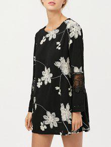 Vestido Chiffon Panel Encaje Bordado Floral  - Negro Xl