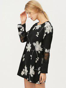 Lace embroidered dress in black