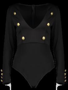 الأكمام الطويلة تغرق الرقبة ارتداءها مع أزرار - أسود L