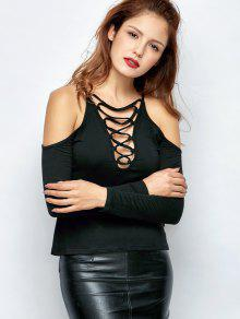 Lace-Up Cold Shoulder T-Shirt - Black M