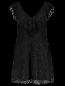 Ruffles V Neck Lace Dress - Black Xl
