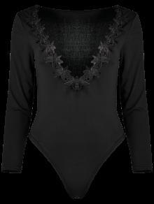 Lacework Plunging Neck Bodysuit - Black M