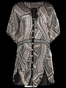 فستان توهج الأكمام طباعة الهندسي زر الشيفون - L
