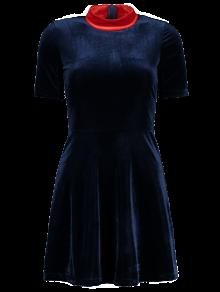 Terciopelo Mock Neck Vestido Skater - Azul Purpúreo M