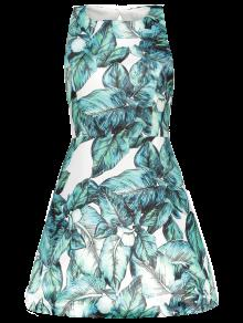 Back Stitch Printed A-Line Dress - Green S