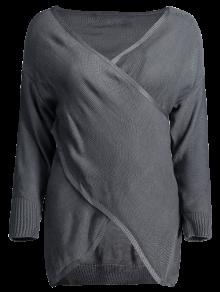 Crossover Pullover Sweater - Deep Gray M