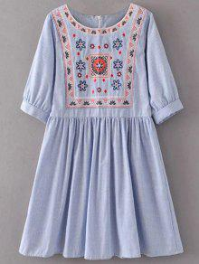 Striped Embroidered Smock Mini Dress - Light Blue S