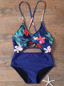 Floral Ahueca Hacia Fuera Del Traje De Baño De Una Sola Pieza - Azul L