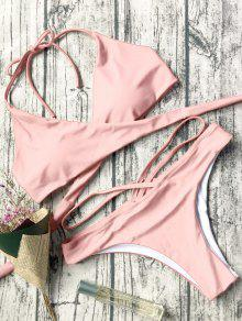 Double Side Crossover Bikini Swimwear - Pink M
