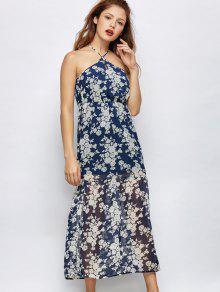 Floral Beach Maxi Dress - Blue S