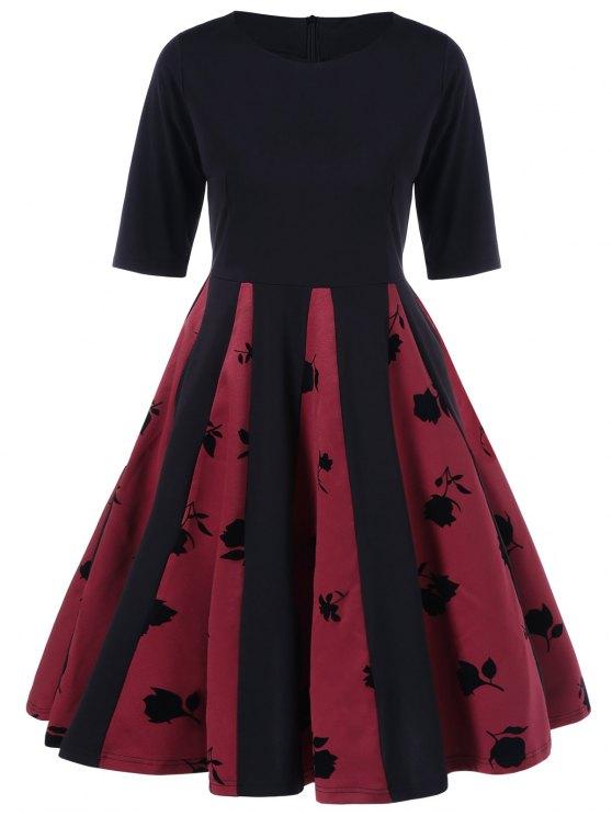 Rose Imprimer Plissé Robe évasée - Noir et Rouge M