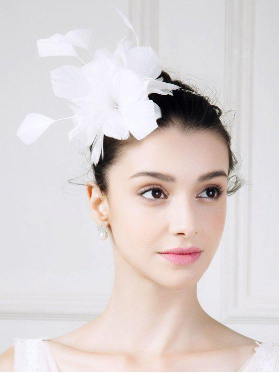 Feathered Flower Hat Fascinator - Branco