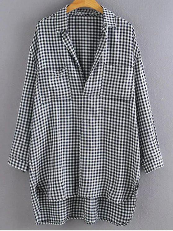 Alto Bajo gran tamaño camisa de tela escocesa sudadera - Comprobado S