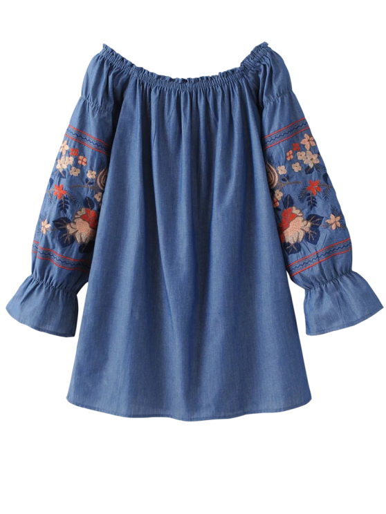 outfits Off The Shoulder Floral Embroidered Blouse - BLUE S