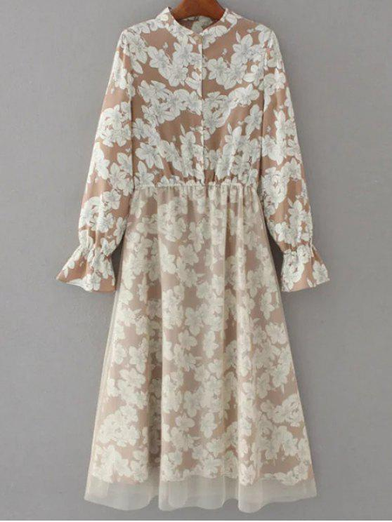 new Long Sleeve Tulle Panelled Floral Dress - LIGHT BROWN S