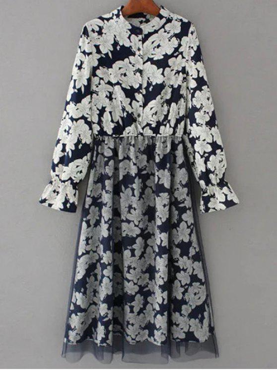 Vestido floral con paneles de manga larga de tul - Azul Purpúreo S