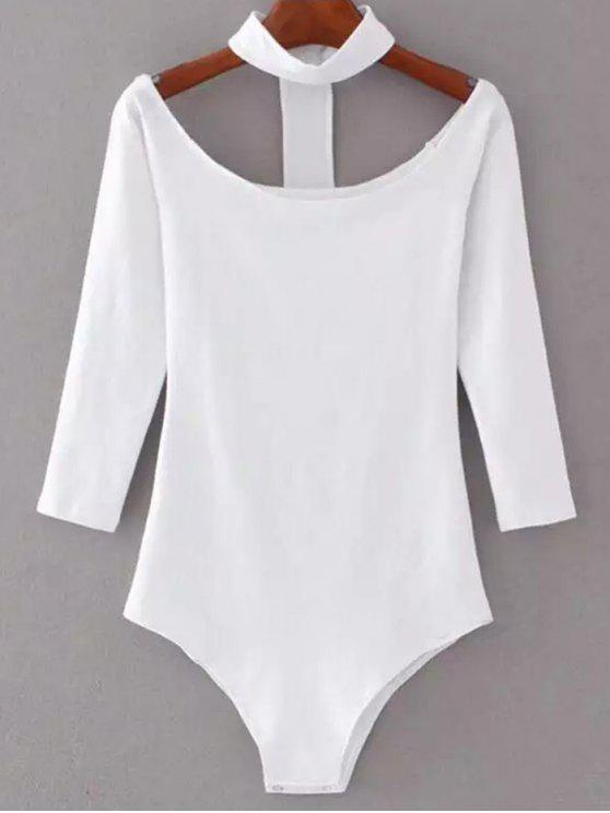 women Skinny Off The Shoulder Choker Bodysuit - WHITE S
