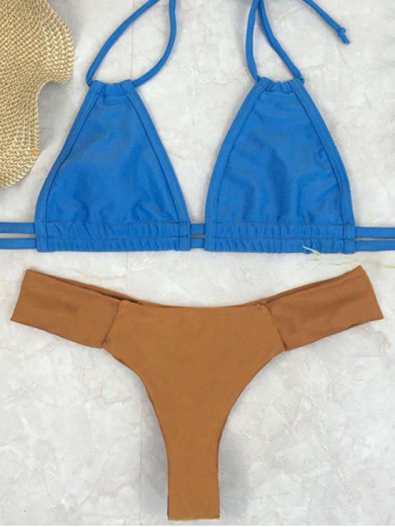 Bikini à bretelle à deux couleurs avec décoration d'une ceinture - Blé XL