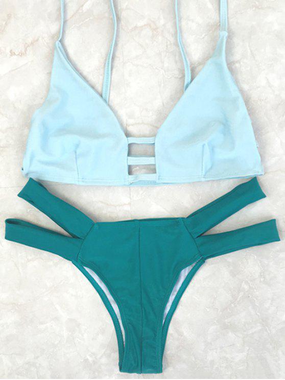 fashion Spaghetti Straps Color Block Bikini Set - GREEN S