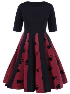 Impresión De Rose Vestido Plisado De La Llamarada - Negro Y Rojo Xl