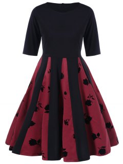 Rose Print Pleated Flare Dress - Black And Red M