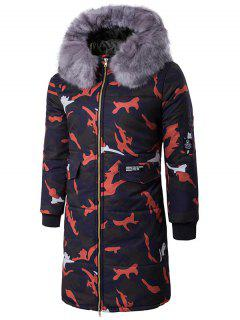 Zip Up Camo Padded Coat With Furry Hood - Red L