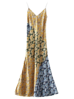 Paisley Printed A Line Slip Dress - Golden Yellow L