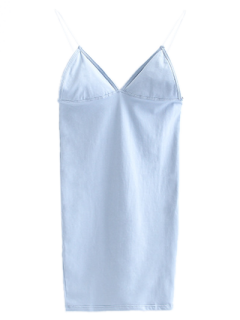 Elastic Spaghetti Strap Mini Bodycon Dress - Light Blue S