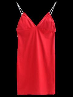 Elastic Spaghetti Strap Mini Bodycon Dress - Bright Red S