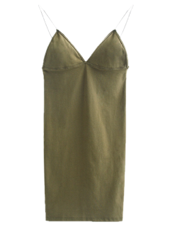 Elastic Spaghetti Strap Mini Bodycon Dress - Flax Green S