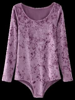 Crushed Velvet Long Sleeve Romper - Purple S