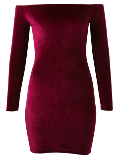 Off The Shoulder Long Sleeve Velvet Dress - Burgundy M