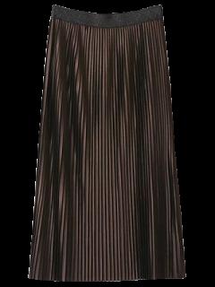 Pleated Elastic Waist Midi Skirt - Dark Coffee