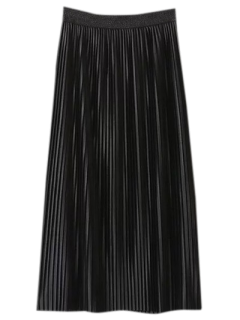 Pleated Elastic Waist Midi Skirt - Black