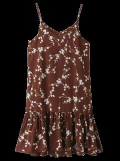 Spaghetti Strap Ruffle Floral Print Dress - Claret