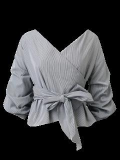 Bowknot Striped Surplice Bluse - Streifen  L