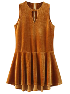 Cut Out Sleeveless Ruffle Velvet Mini Dress - Gold Brown S