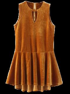 Cut Out Sleeveless Ruffle Velvet Mini Dress - Gold Brown M