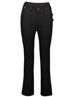 Straight Button Embellished Pants - Black S