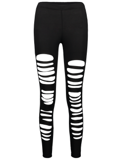 High Rise Ripped Leggings - Black S