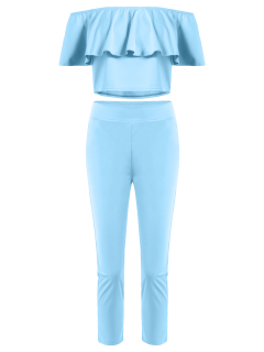 Épaule Off Jabot Crop Top Et Pantalon Skinny - Bleu Clair M